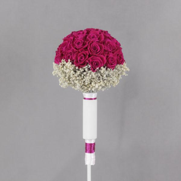 Bukiet ślubny biedermeier gorący róż i gipsówka