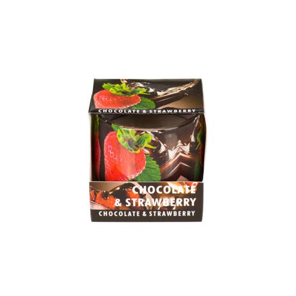 Świeca o zapachu czekolady i truskawek
