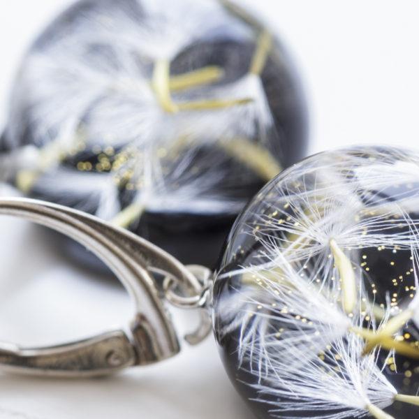 Kolczyki z nasionkami dmuchawca i żółtymi łodygami bigle angielskie