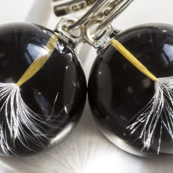 Kolczyki z nasionkiem dmuchawca czarne bigiel angielski