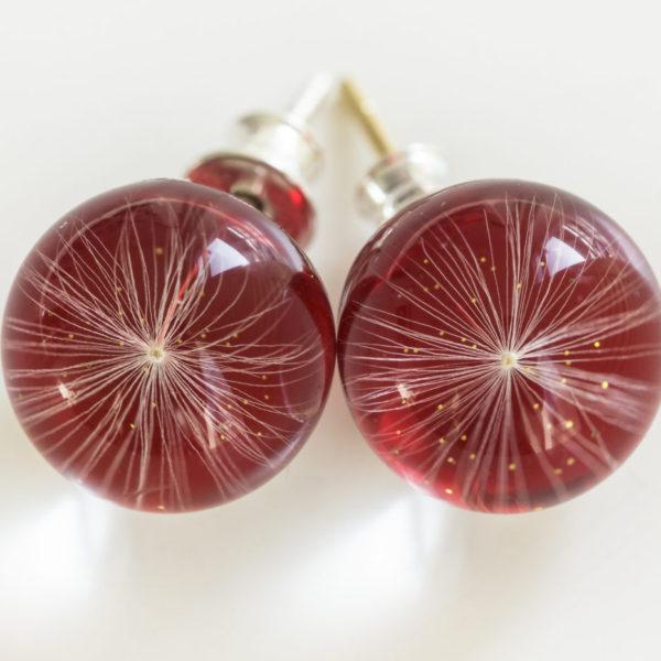Kolczyki z nasionkiem dmuchawca czerwone na sztyftach