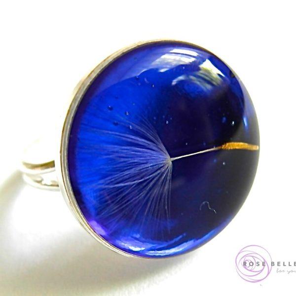 Pierścionek z dmuchawcem niebieski antyalergiczny