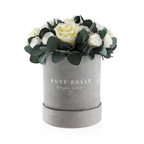 Rose Belle Box flokowany z eukaliptusem rozmiar m