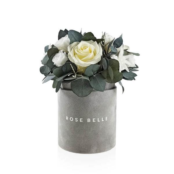 Rose Belle Box flokowany z eukaliptusem rozmiar s