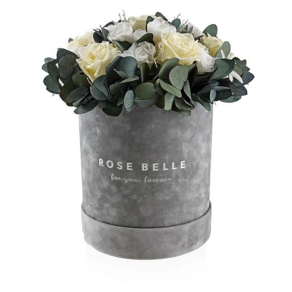 Rose Belle Box flokowany z eukaliptusem rozmiar xl
