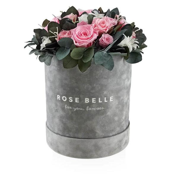 Rose Belle Box flokowany z eukaliptusem rozmiar xl różowe róze