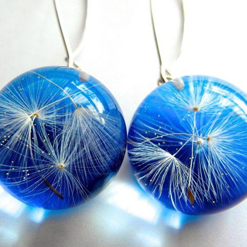 Niebieskie oryginalne kolczyki z dmuchawcem