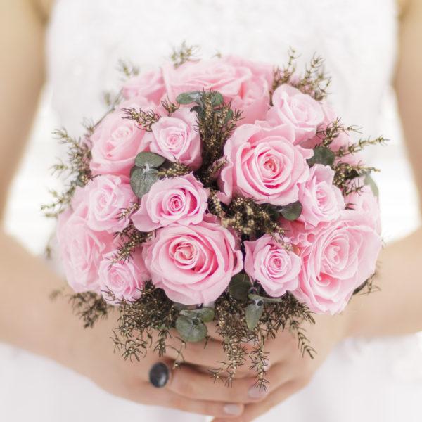 Bukiet ślubny biedermeier weselnie różowy