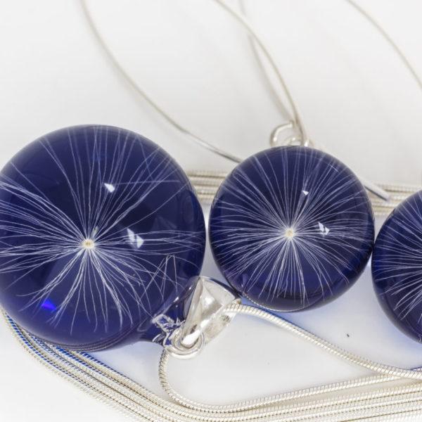 Naszyjnik i kolczyki z nasionami dmuchawca niebieskie
